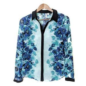 LC Lauren Conrad Blue Floral Button Up Blouse XS